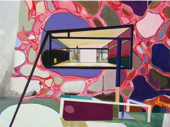 Ernest Jolicoeur, Atrium, 2016, acrylic on canvas over wood panel, 35 x 47 inche