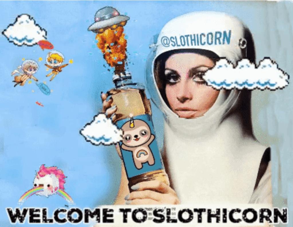 Blockchain art Slothicorn
