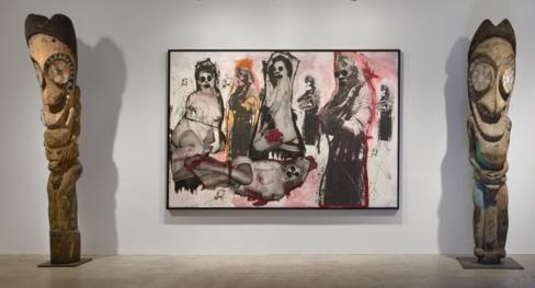 Richard PrinceIt's All Over(2008) and two African Art Vanuatu Figures. Photo: Venus Over Manhattan.