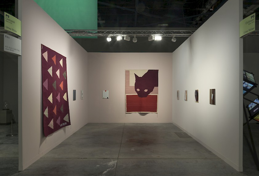 Ulrike Müller, Callicoon Fine Arts, installation view at Miami Art Basel Booth P9, 2016. Image courtesy of the artist and Callicoon FineArts, NY.